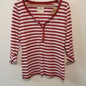 Hollister New Red White Stipe Long Sleeve Tee
